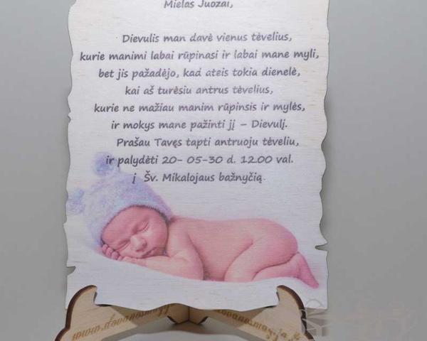 Kvietimas su spauda 20x30cm DovanosMagija_Medinės Dovanos iš plokštės Dovanos krikštynoms