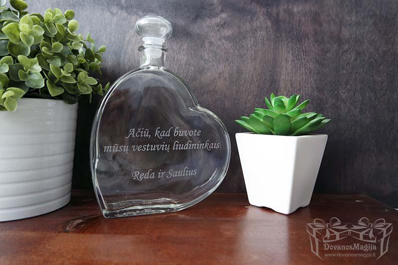 Stiklinis butelis su graviravimu ar spauda