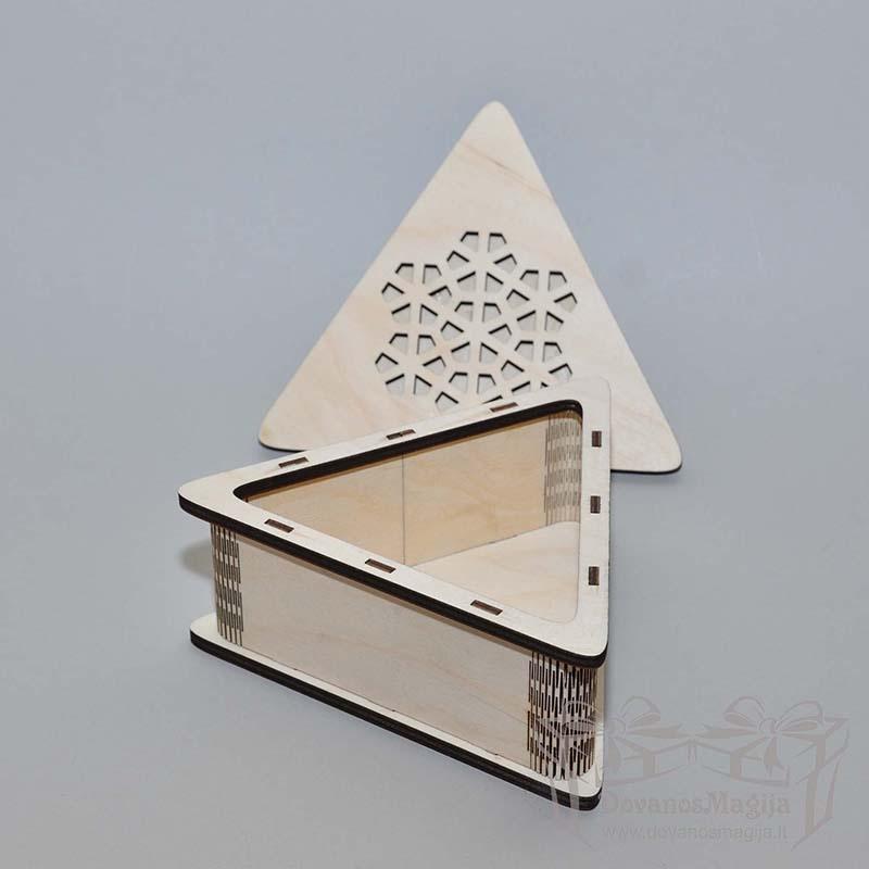 Medinė dėžutė trikampė 14x16x6cm